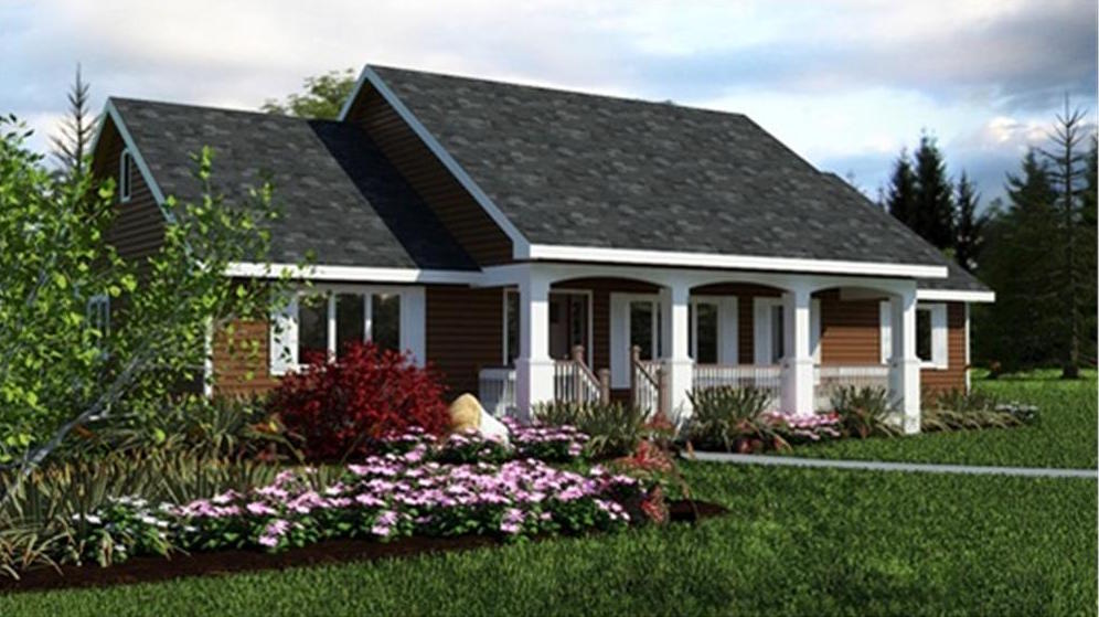 Simple roof design of Country Ranch House Plan #176-1012
