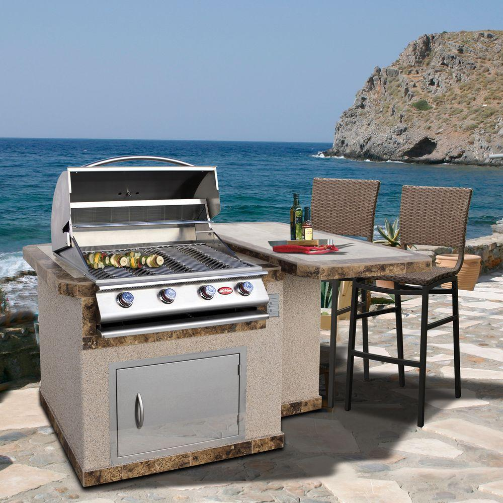 Gas grill built into ready-made island counter