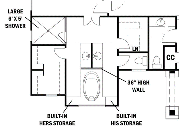 Floor plan of master bath that shows smart use of space in the layout