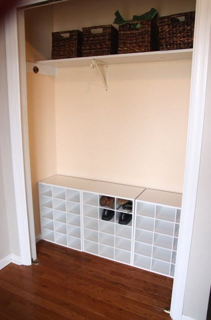 Organize using a wall of cubbies