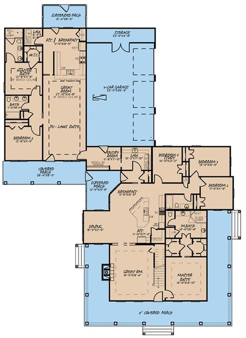 Floor plan of large Farmhouse style home (plan #193-1017) with generous in-law suite