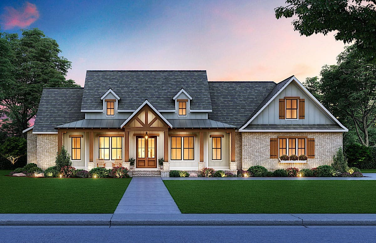 Country style home with rustic timber accents, partial vertical siding, and metal porch roof