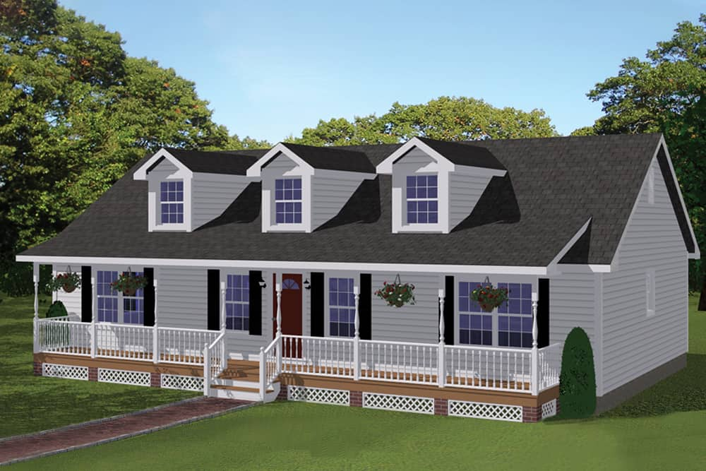 3-Bedroom, 1381 sq ft affordable starter home #200-1057 with long porch.