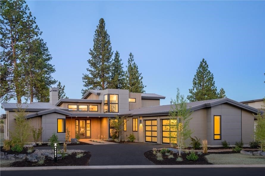 3,217-sq.-ft. Northwest Contemporary style home highlights clean roof lines, lots of glass, and a covered outdoor living area