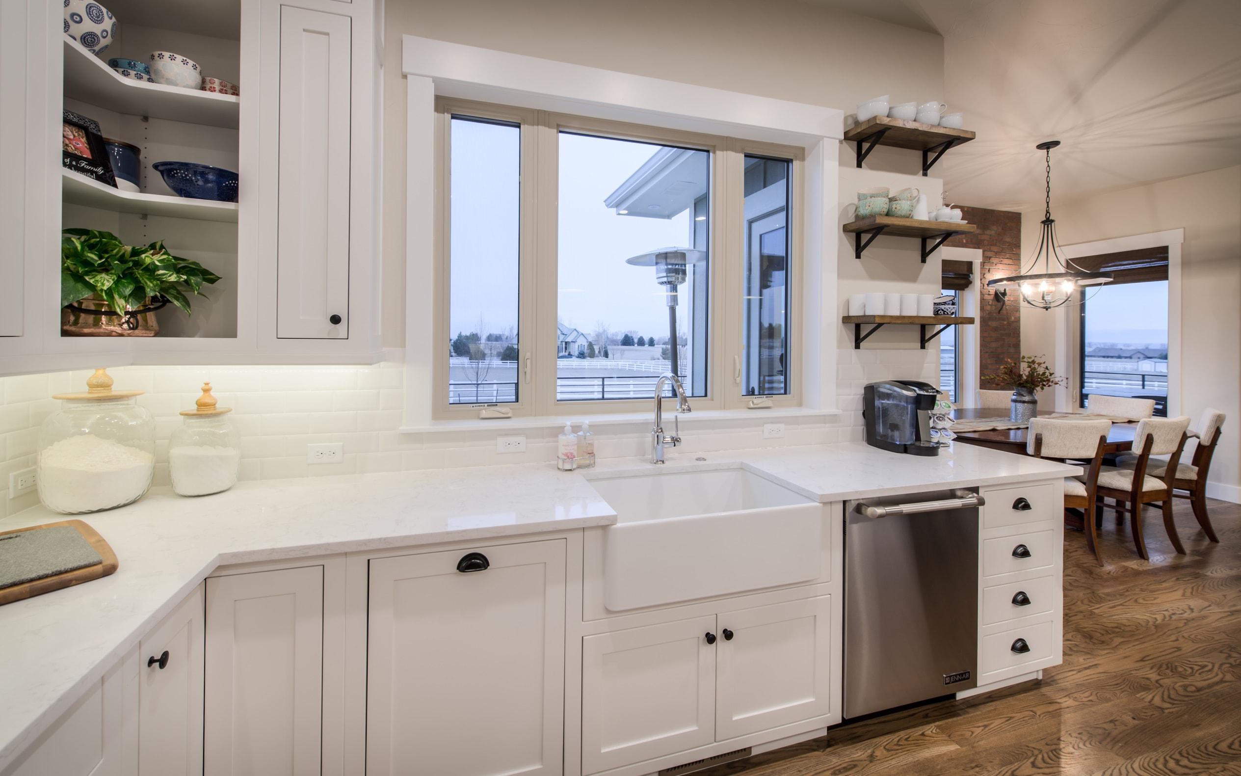All-white kitchen in House Plan #161-1072