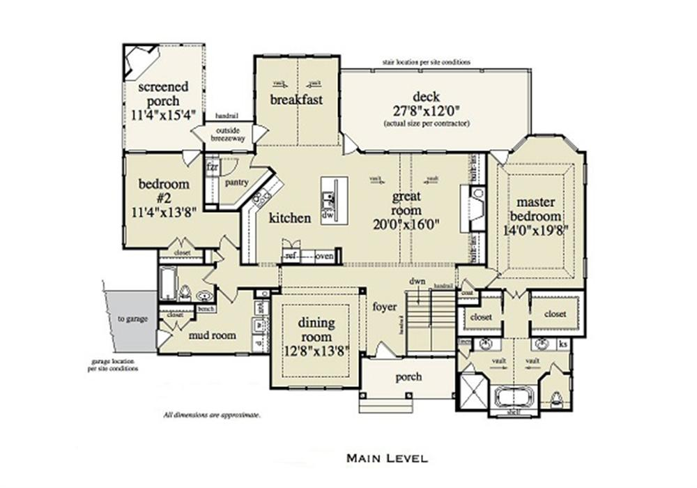 Main-level layout of floor plan #163-1052 showing oversize master suite on right side of house