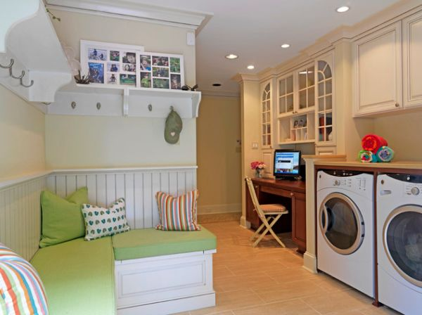 Multipurpose laundry room with reading corner and office space