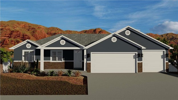 Small Ranch style home with three-car garage