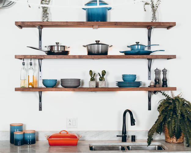 Open shelves in kitchen that are convenient and stylish