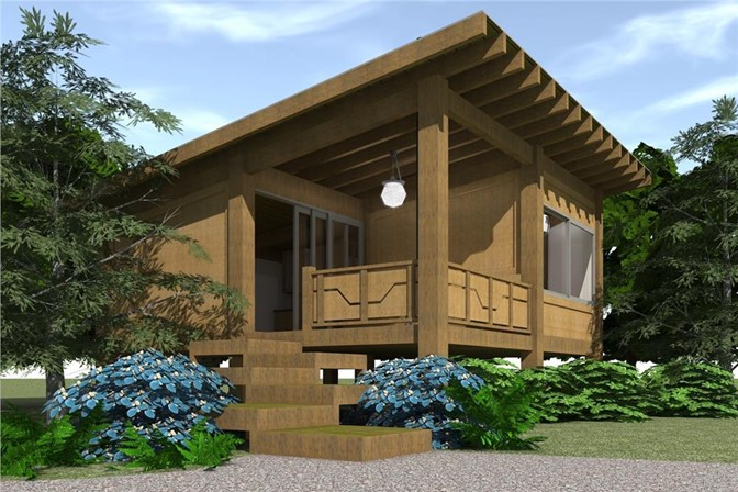 Contemporary style home with one bedroom, one bath, a fireplace with screw pile foundation