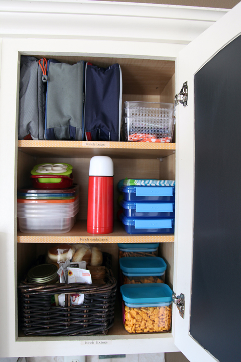 Well organized lunch-making closet
