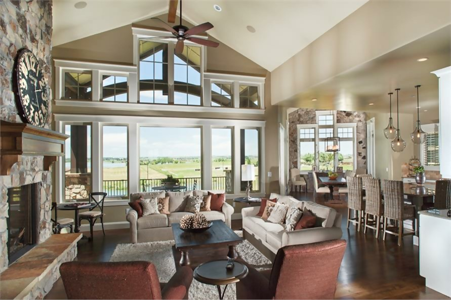 Open concept layout of Great Room in Craftsman style home
