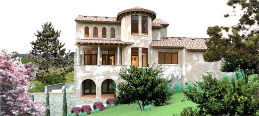 "Two-story, ""castle-like"" Spanish-style manor home"