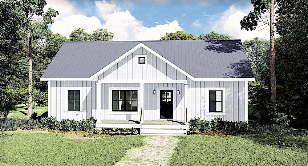 Small ranch house plan with clean, simple lines and 1311 sq ft