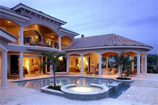 Luxury Florida style house plans with covered lanai and large swimming pool.