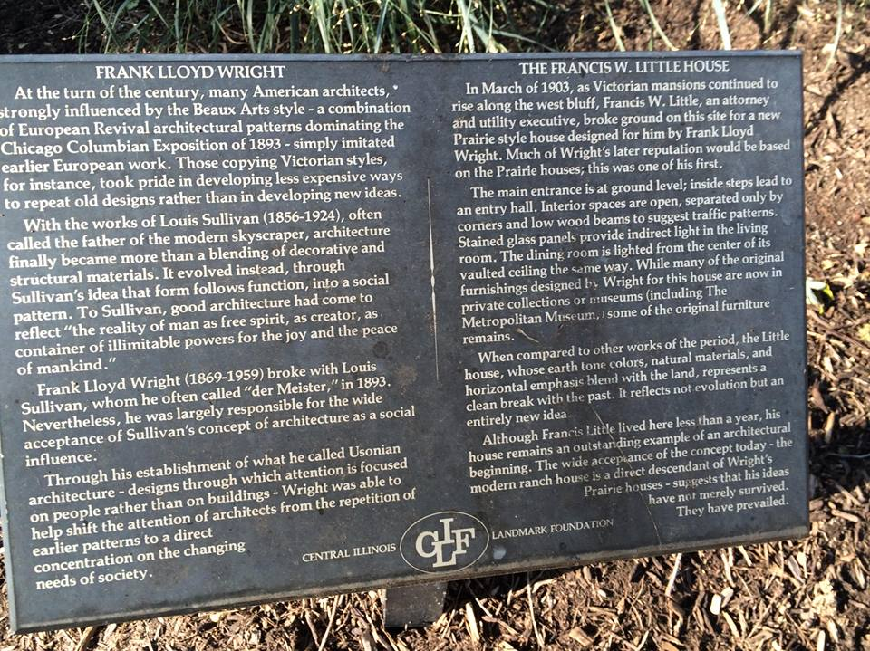 Plaque describing Francis W. Little House in Peoria, designed by Frank Lloyd Wright