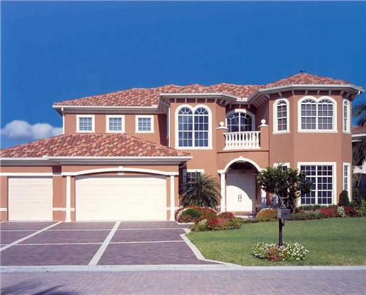Beautiful Mediterranean-style waterfront manor  perfect for coastal areas  with 5 bedrooms, 4.5 baths