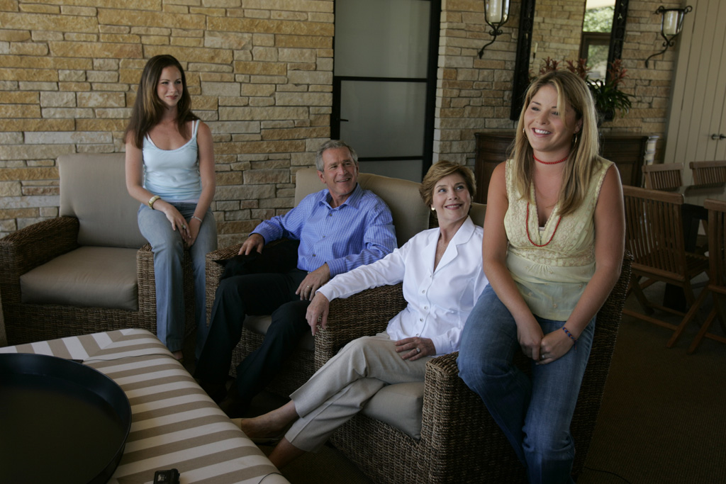 Bush family relaxing at Crawford, TX ranch.