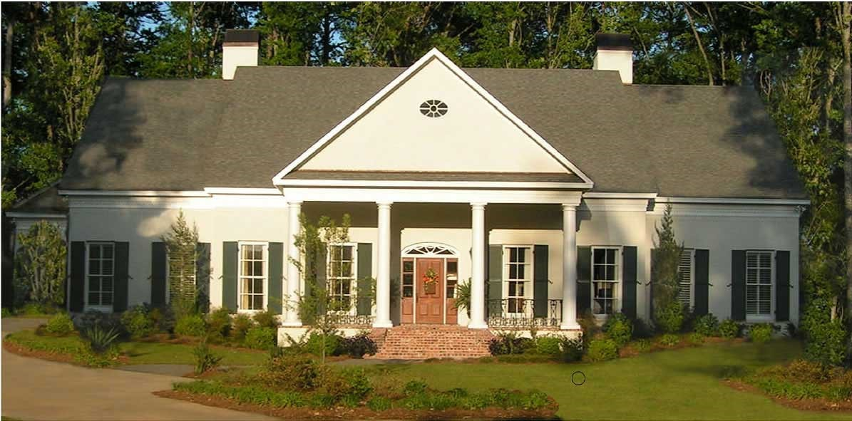 Federal style home with pediment-like front gable over the front porxh