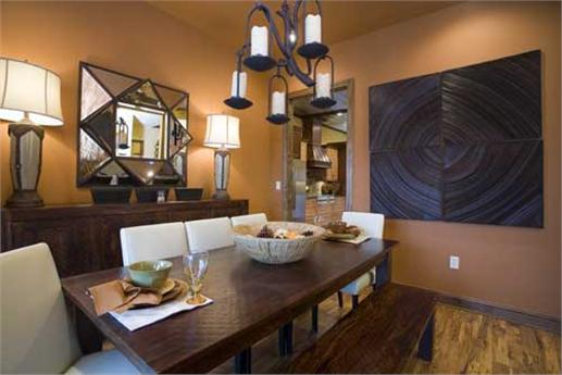 Dining room with geometric wall decor
