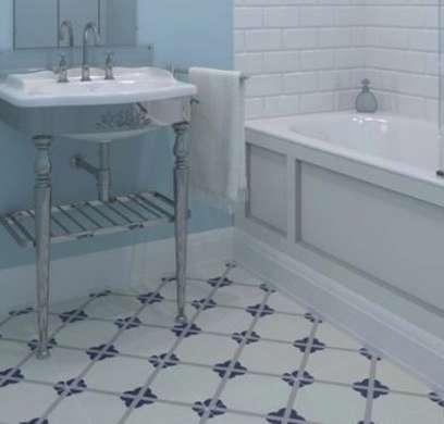 Vintage-look bathroom with linoleum floor