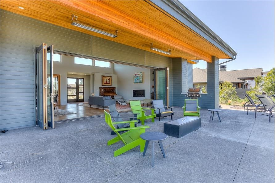 Patio and Great Room with open patio doors