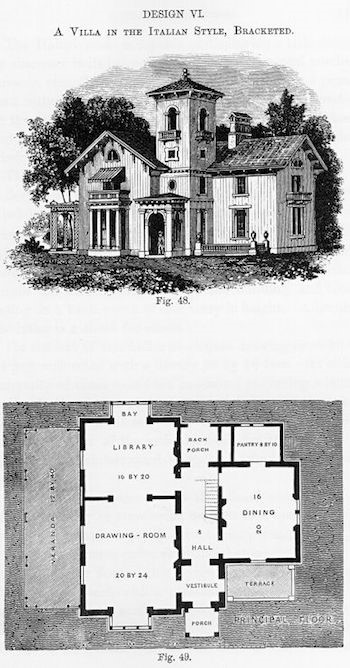 Page from Andrew Jackson Downings Cottage Residences book with illustration of an Italian villa as well as a floor plan for the home