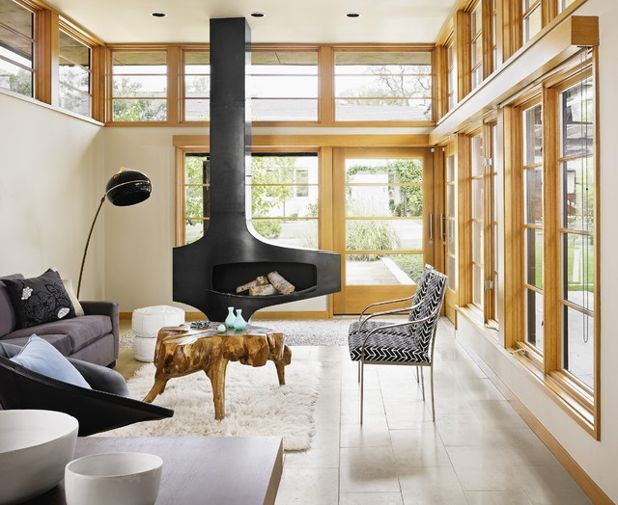 Customized free-standing modern metal fireplace in black