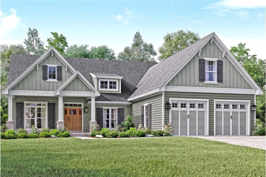 Asymmetrical Craftsman style home with front porch and shed dormer