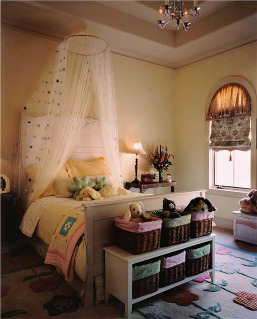 A young girl's dream bedroom with bright colors and decor
