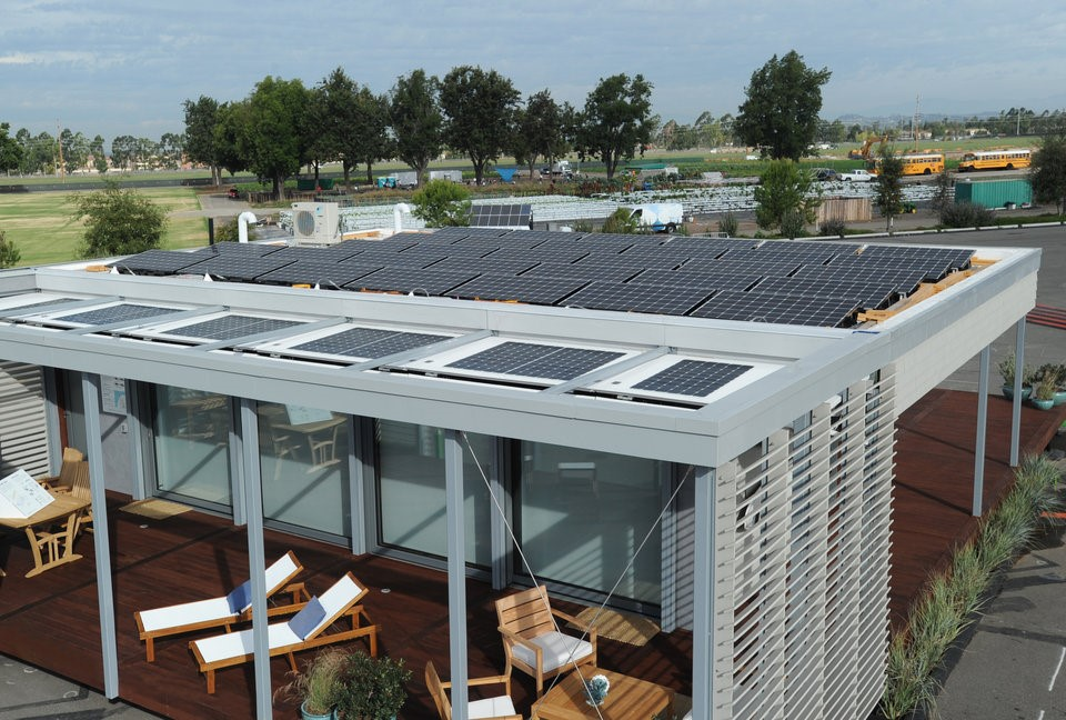 Solar panels and innovative shutters on the SURE House