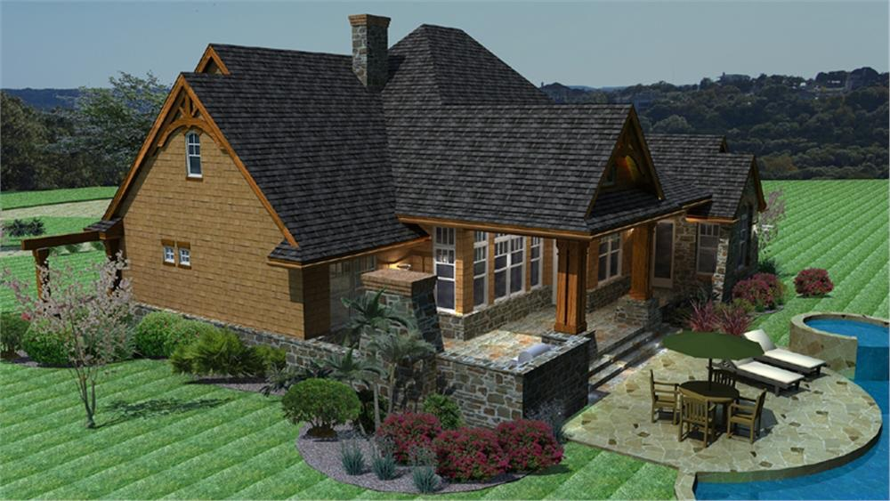 Rear patio and covered deck of Country Ranch House Plan #117-1092