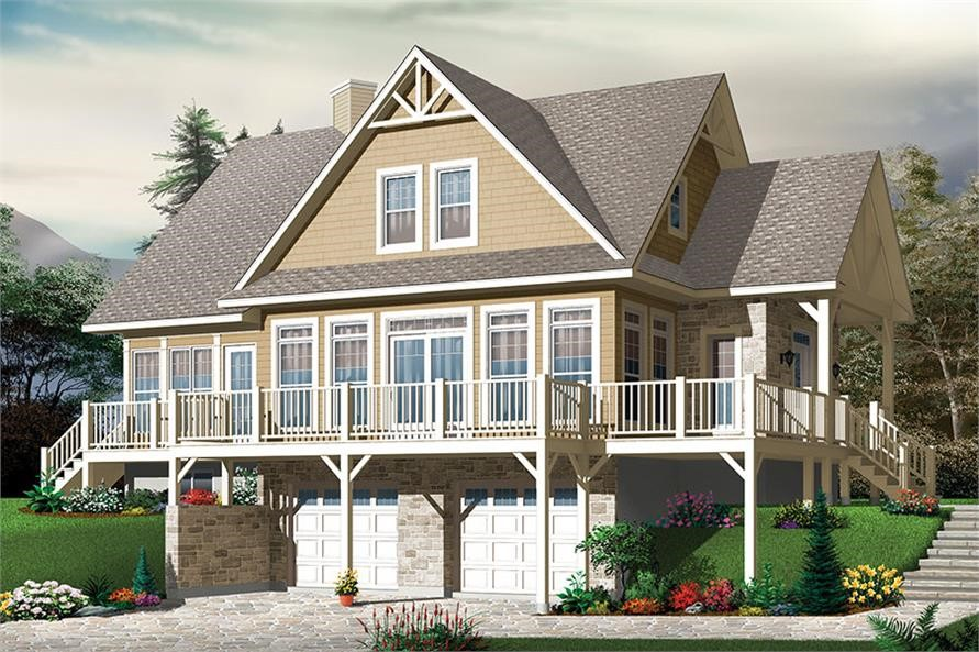 Country style home with wrap-around deck and drive-under garage