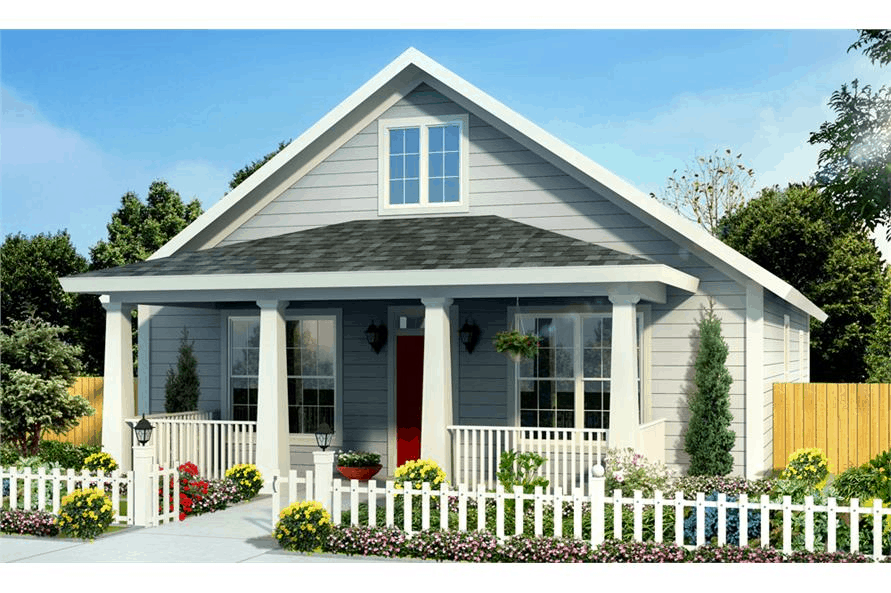 Cottage style home with front porch, white picket fence, and colorful blooms and shrubs