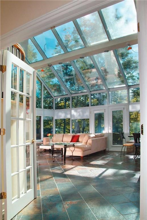 Two-story sunroom in house plan #126-1190