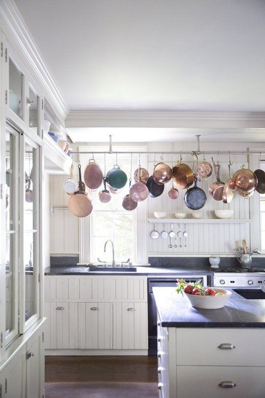 Lovely Country flavor kitchen with pot rack