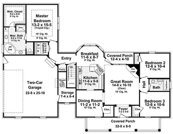 Can You Read Some Of The Window Symbols On This Floor Layout Of A  Three Bedroom Country House Plan? Look At The U201cCovered Porchu201d Section, And  Check Out Both ...