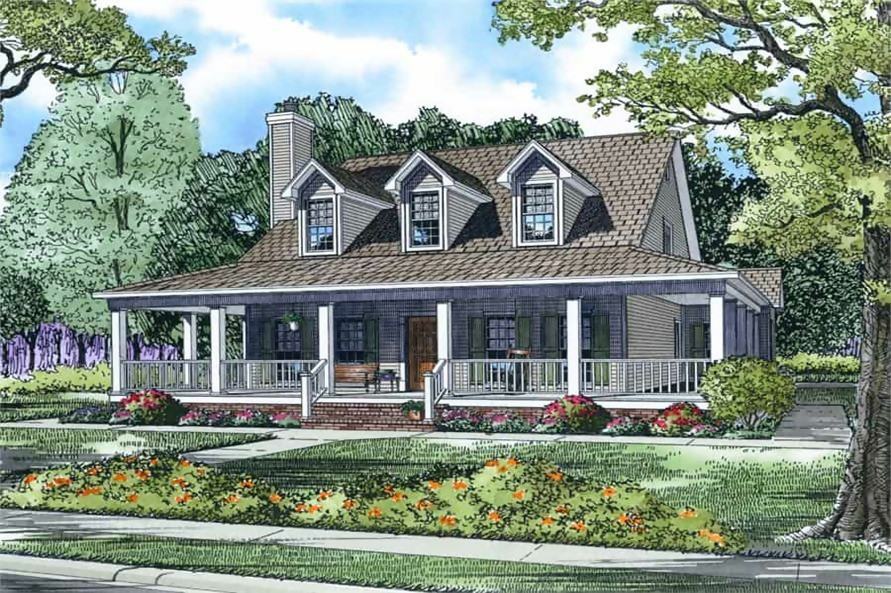 Country or farmhouse style home with three gable dormers and wrap-around porch