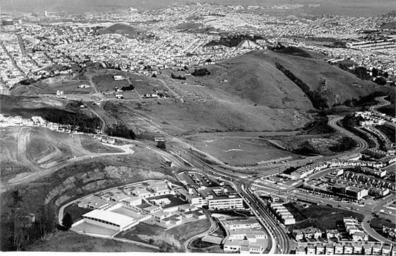 Area between Red Rock and Gold Mine Hills that was filled in for shopping center in Diamond Heights development in California