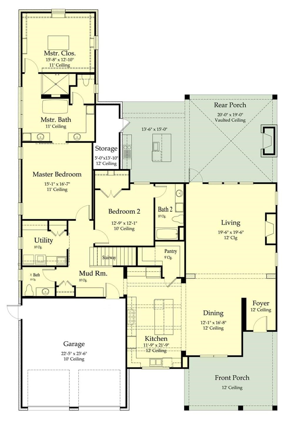 Floor plan layout of Cottage style plan #204-1019 showing tall ceiling heights