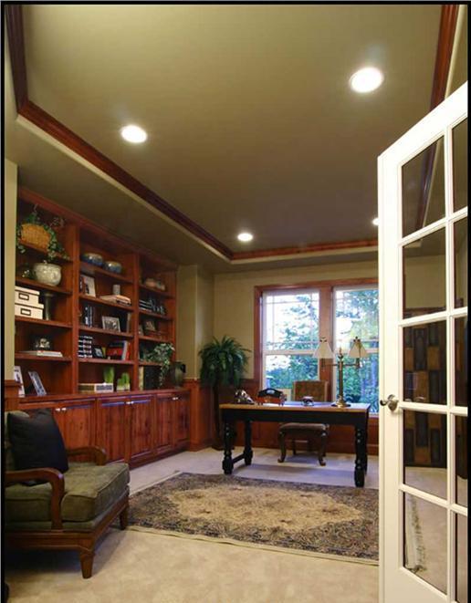 Bonus room with bookshelves