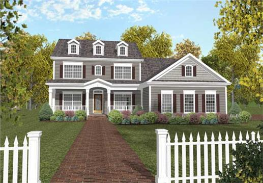 This image shows the front elavation of these Colonial - Georgian Style home plans.