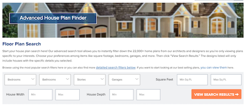 Advanced Search form on The Plan Collection's website