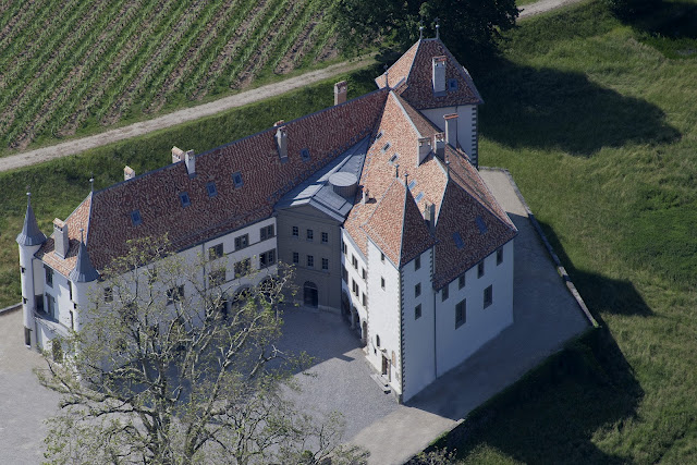 Exclusive Allaman castle made of white stone outside Geneva, Switzerland