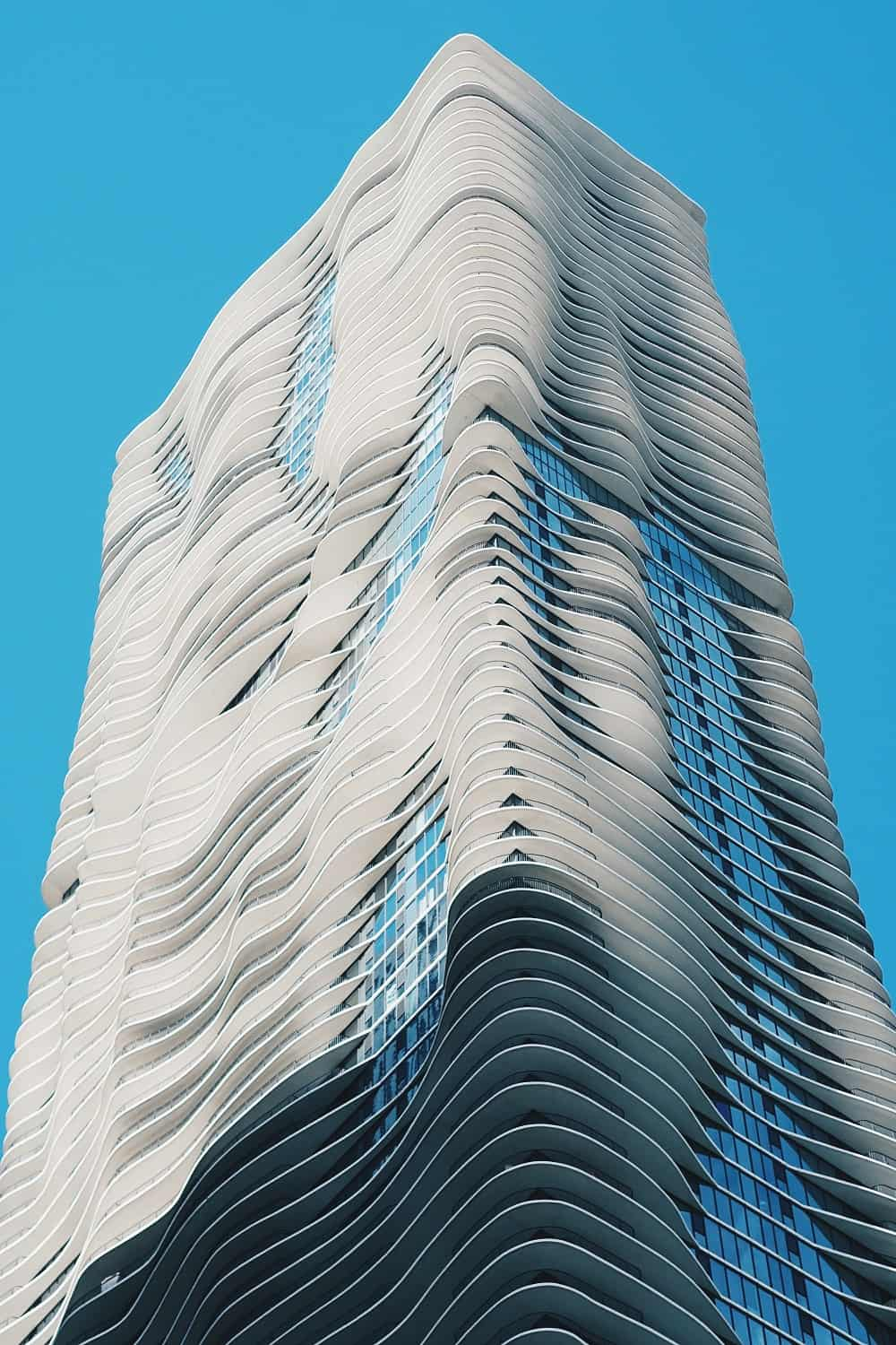 Aqua Tower's balconies give the tower an undulating look.