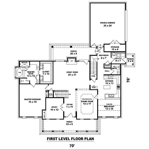 Main level floor plan for Cape Cod Plan #170-1200