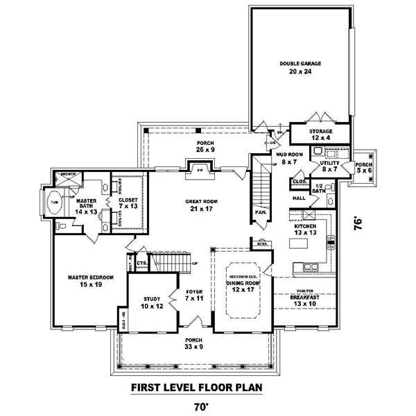 Main level floor plan for Cape Cod Plan #170-1200