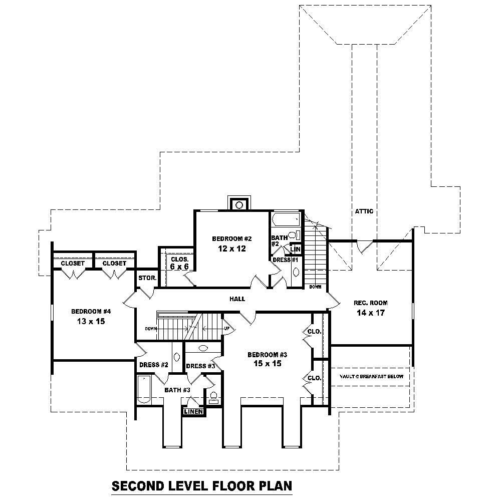 Upper level floor plan of Cape Cod Plan #170-1200