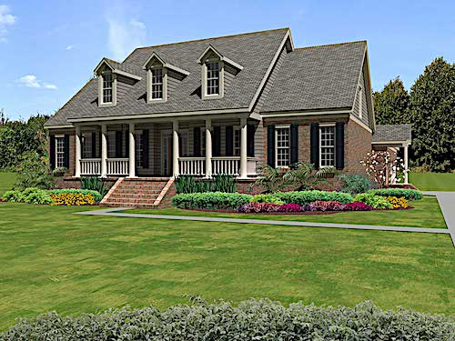 2-story Cape Cod house with three dormers and a front porch