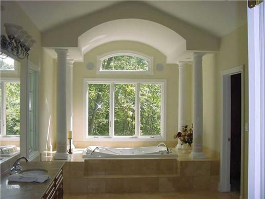 luxury bathroom with soaking tub.